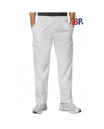 Pantalon unisexe blanc avec taille élastique, poly-coton